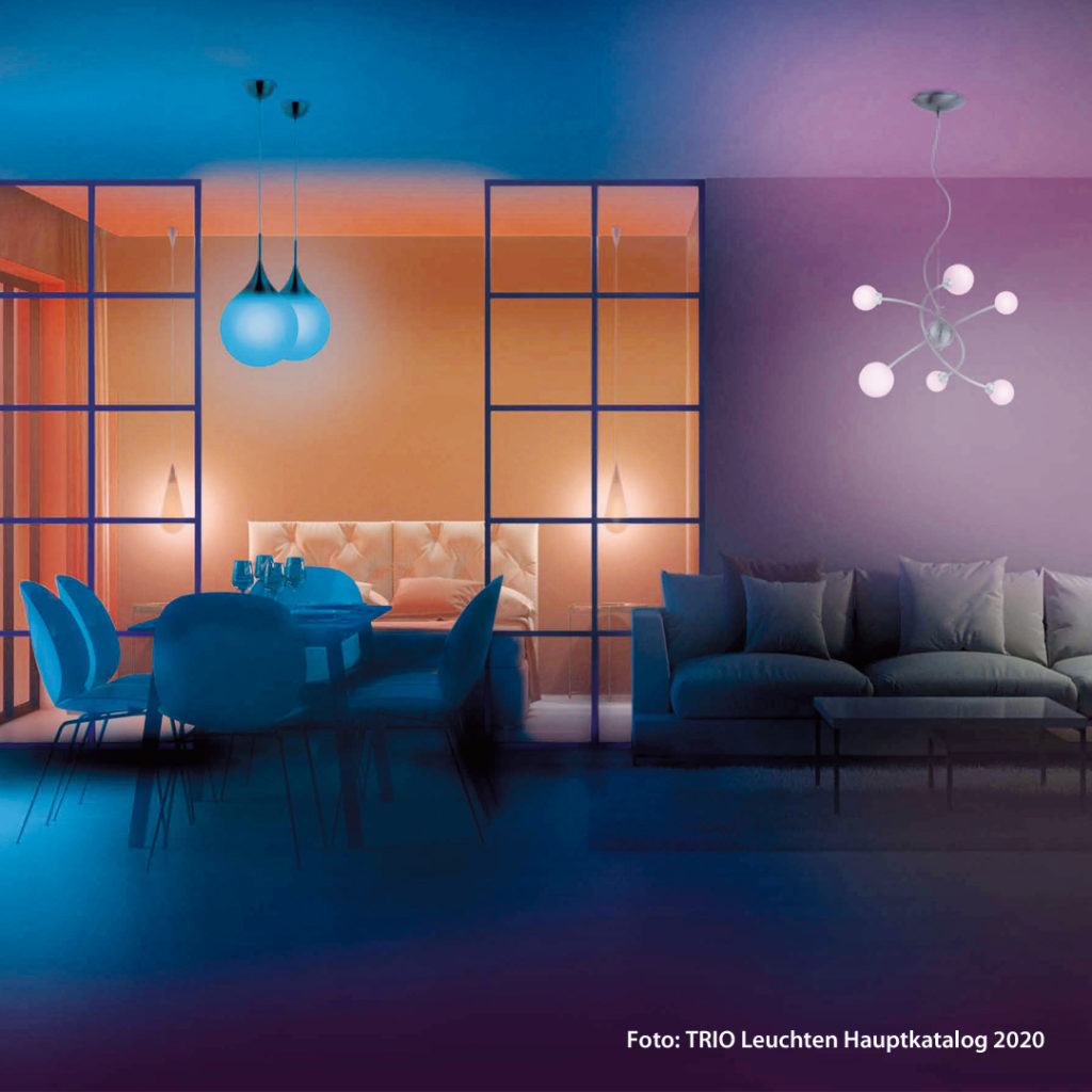 Die perfekte Wohnatmosphäre mit Licht entsteht durch den optimalen Einsatz von Hintergrundbeleuchtung, Arbeitsbeleuchtung und Akzentlicht.