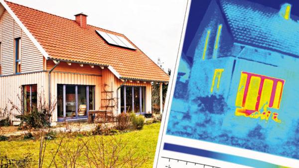 Energieeffizientes Bauen und Sanieren - thermografische Gebäudeaufnahmen zeigen Wärmeverluste.