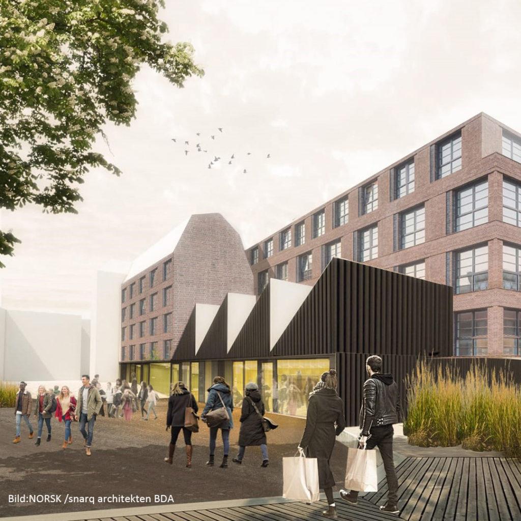 Auf dem ca. 6.500 Quadratmeter großen Grundstück soll für mehr als 45 Millionen Euro bis Ende 2022 ein neues Wohnquartier mit Einzelhandel entstehen.