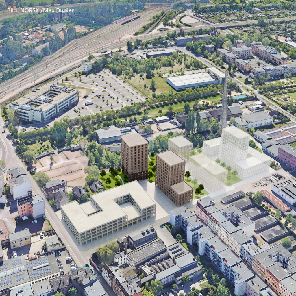 Am alten Thüringer Bahnhof könnte ein neues Stadtviertel entstehen. Vier Gebäude mit einer Höhe 46 Metern und 13 Geschossen könnten das neue Quartier markieren.