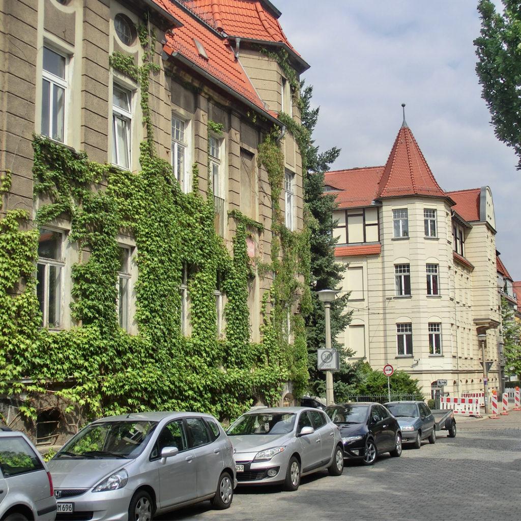 """""""Historisch gewachsene"""" Fassadenbegrünung an einem Haus der Gründerzeit in Halle"""