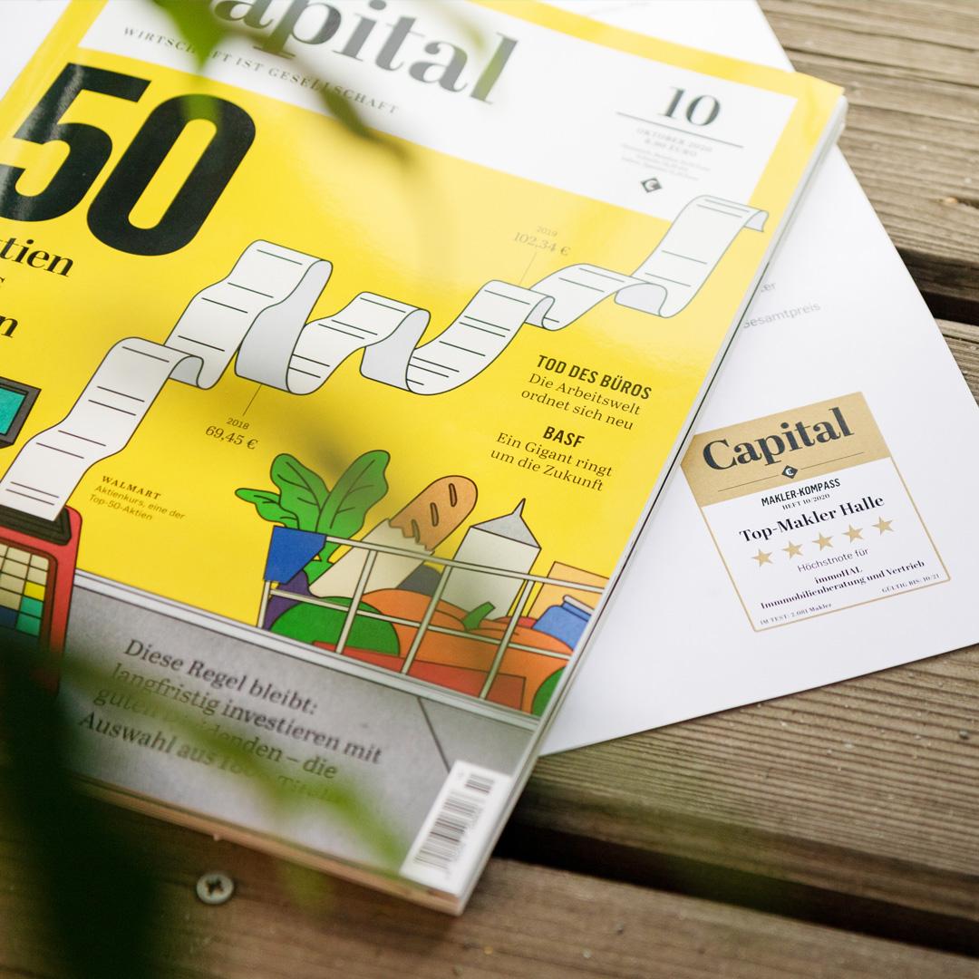 """Als einer von 396 Immobilienmaklern deutschlandweit erhielt die immoHAL GmbH die Bestnote von 5 Sternen im aktuellen Makler-Ranking des Wirtschaftsmagazins """"CAPITAL""""."""