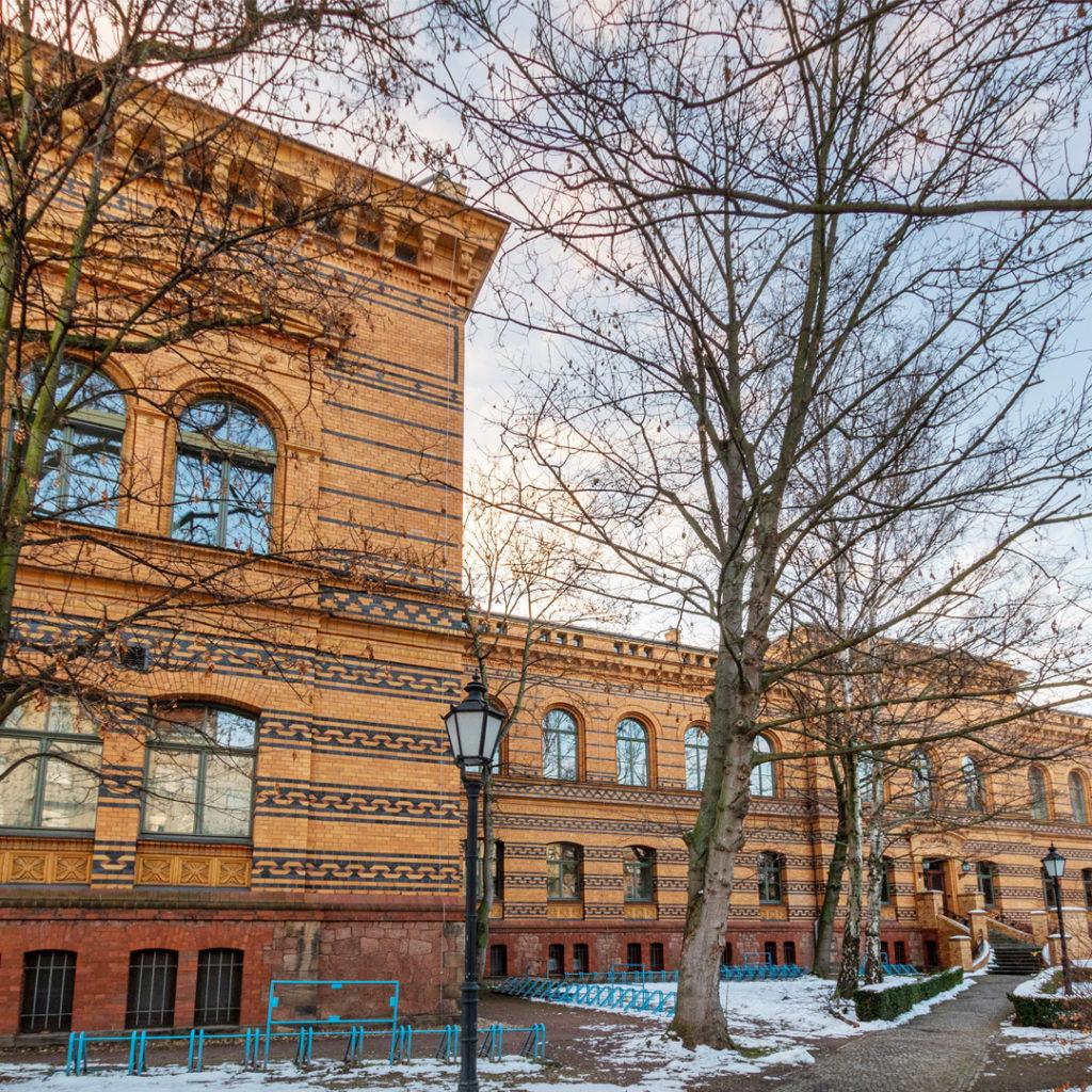 Die 1880 als Anatomische Anstalt eröffnete Anatomie gehört zu den schönsten Instituten in Halle, berühmt auch für die anatomischen Meckelschen Sammlungen.